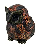 Amber Crackle Glass Owl Accent Lamp Bronzed Base