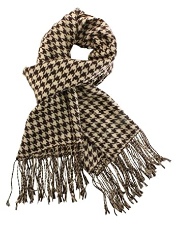 Dahlia Women's 100% Merino Wool Pashmina Scarf - Houndstooth - Brown Tan