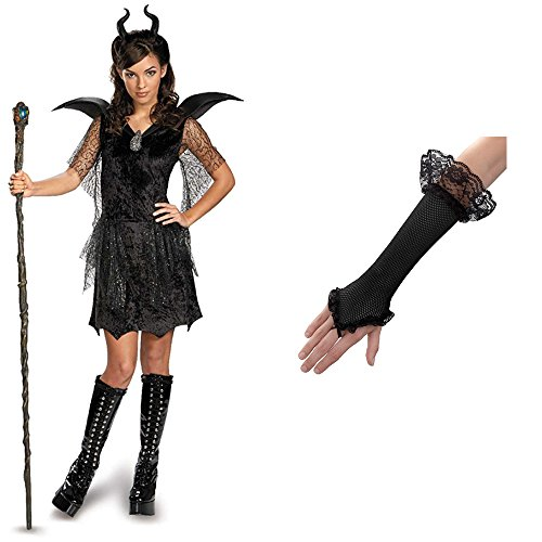 [Maleficent Costume with Staff and Gloves, Junior (7-9)] (Bad Witch Halloween Costumes)