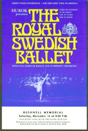 Royal Swedish Ballet Flyer Bushnell Hartford Ct 1974