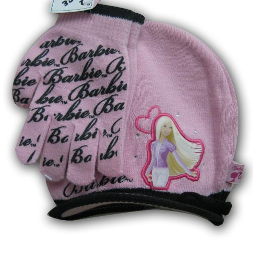 Girl's Barbie Knit Radar Hat and Glove Set (4-14)