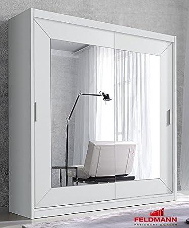 Schwebeturenschrank Kleiderschrank 83638 weiß 180cm mit Spiegel