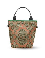 Atrangee Brown Floral Tall Tote Bag (Brown & Green)