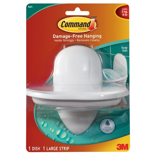 Command Soap Dish with Water-Resistant Strip, 1-Dish, 1-Strip