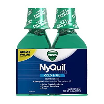 Vicks NyQuil Cold & Flu Nighttime Relief Original Flavor Liquid 2 x 12 Fl Oz