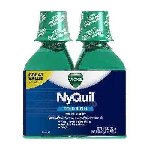 Vicks NyQuil Cold & Flu Nighttime Relief Original Flavor Liquid 2 x 12 ...