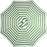 Best Seller!!! Green and White Striped 9' Foot Outdoor Round Steel Patio Tilt Crank Polyester Umbrella - For sun protection at patio, pool, deck, porch, beach, lawn, yard