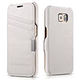 Galaxy S6 Case Flip, Tomplus [3 Card Slot ] [Genuine Leather] Folio Flip Corrected Grain Leather Case with Magnetic Closure for Samsung Galaxy S6 G920(white)