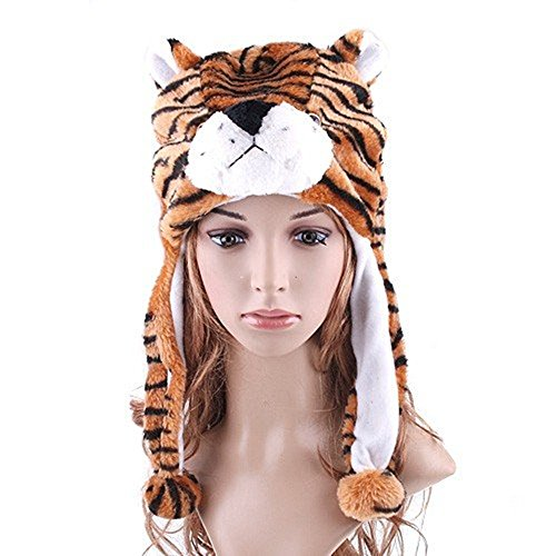Faux Fur Animal Hat Cartoon Tiger Cap Plush Fluffy Warm Cosplay Costume Mask Scarf Earflap