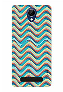 Noise Orange Blue Waves Printed Cover for Gionee Marathon M4