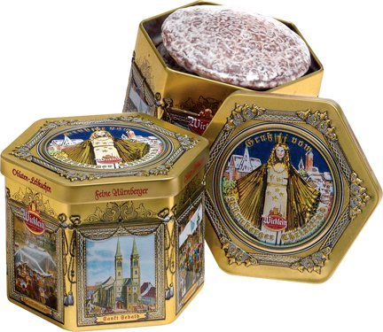 Wicklein Hexagonal Tin  2 Sorts of Lebkuchen