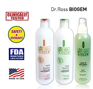 Dr ROSS' BIOGEM Clinically Tested Hair Loss COMPLETE Hair Care Set: Shampoo, Conditioner & Treatment For Oily Hair - 2 x 355ml, 1 x 235ml/ SAFE & EFFECTIVE ! 100% Stopped Balding & 97% Noticed Increasing Hair Volume in Clinical Trials(12 weeks, 29 subjects) by an FDA-registered Lab in USA. No Minoxidil(drug), No Paraben. pH balanced revitalizing active organic formula. Made with organic plants extract.