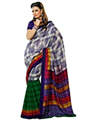 Prafful Silk Bhagalpuri Printed Saree With Unstitched Blouse - B00KNUHTNI