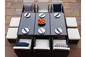 Lucy Deluxe Rattan Garden Conservatory Cube 10 Seat Dining Set. Quality 8mm toughened glass upper.