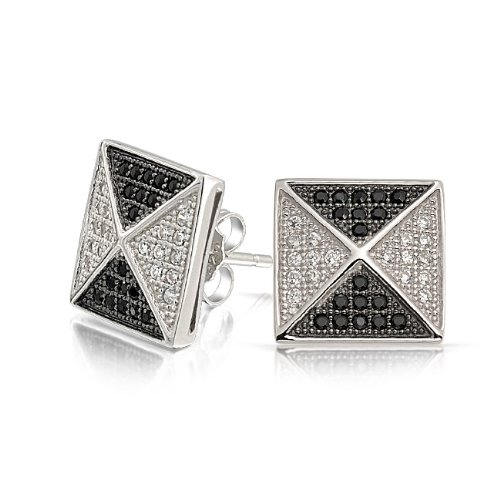 Bling Jewelry Micro Pave Black and White Pyramid CZ Mens Stud Earrings 925 Silver