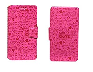 J Cover Teddy Series Leather Pouch Flip Case With Silicon Holder For LG Lucid 3 VS876 Pink