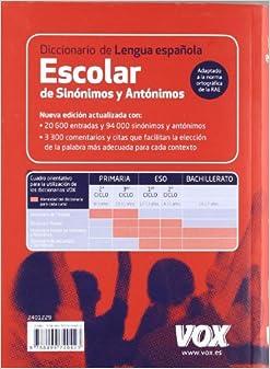 Diccionario escolar de sinonimos y antonimos de la lengua ... - photo#27