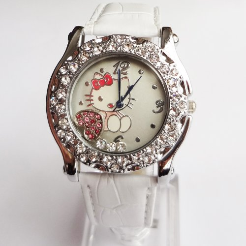 Lovely Cat Rhinestone Quartz Wristwatch With Faux Leather Band Pink & White +Gift Box (White)