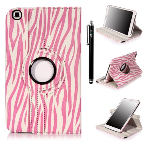 E Lv 360 Degrees Luxury Printed Pattern Rotating Stand Leather Smart Case For Samsung Galaxy Tab 3 With 1 Screen Protector, 1 Stylus And Microfiber Digital Cleaner (Galaxy Tab 3 8.0, Zebra Pink) front-188813