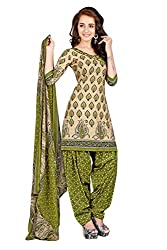BanoRani Womens Beige & Green Color PolyCotton Printed UnStitched Patiala Dress Material (BR-1462)