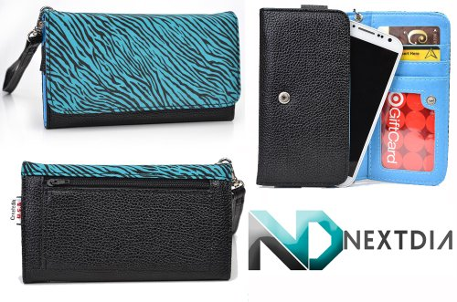 Blu Tank 4.5 W110 Smartphone Wristlet | Zebra Print On Aqua Blue - Electric Blue Interior