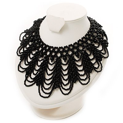 Luxurious Black Beaded Bib Style Choker Necklace Adult