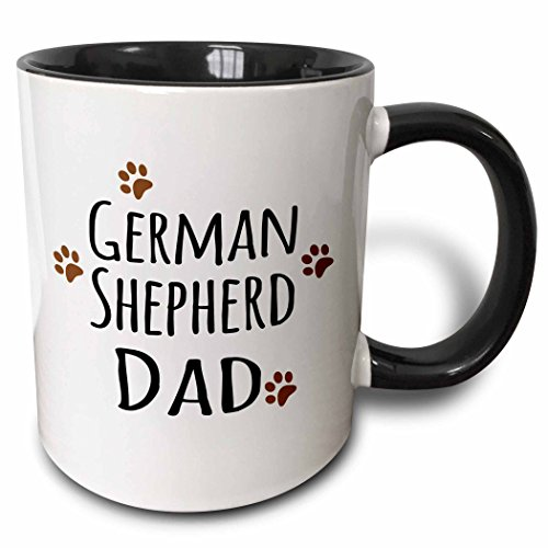 3dRose 3dRose German Shepherd Dog Dad - Alsatian - Doggie by breed - brown muddy paw prints - doggy lover - Two Tone Black Mug, 11oz (mug_153912_4), , Black/White