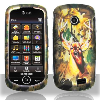 Deer Hunter Camo Design Rubberized Snap on Hard Skin Shell Protector Faceplate Cover Case for Samsung Solstice 2 Solstice2 A817 + Lcd Screen Guard + Microfiber Pouch Bag + Case Opener
