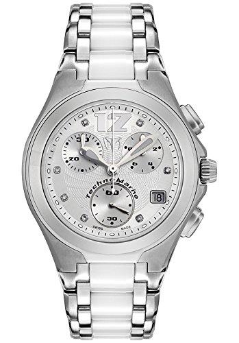 Technomarine Tmncwc55c Midsize Neo Classic White Diamond (.05 Ctw) Chronograph Stainless Steel And White Ceramic Watch (Technomarine Techno Diamond compare prices)