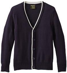 Eddie Bauer Big Boys Classic Cardigan Sweater, Navy,14/16