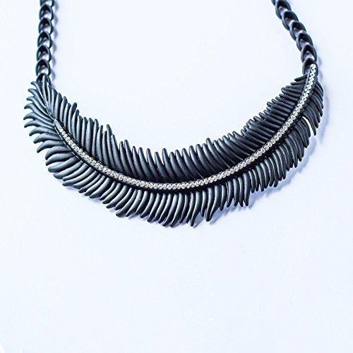 Collana con ciondolo a forma di piuma, colore: nero, gioielli, nuovo