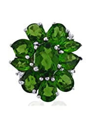 Carillon India Chrome Diopside Ring Gemstone Cubic Zircon 925 Sterling Silver Ring Jewelry