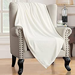 Bedsure Soft Microfiber Cozy Flannel Throw Blanket, for Bed or Couch - Ivory White, 60x80