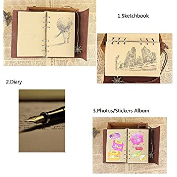 A7 Bound Notebook Daily String Retro Vintage Classic Leather Journal-85 Blanked Pages for Graffiti -Private Ship Pendant (Coffee Brown)