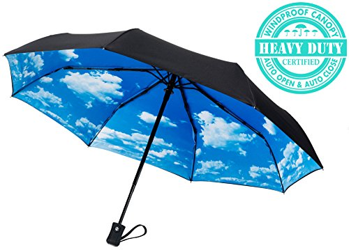 Crown Coast Umbrellas | Free Replacement Guarantee - Heavy Duty Auto Open/Close Travel Umbrella Windproof Up To 60 MPH Winds - Frame Won't Break If Flipped Inside Out - Customer Service Backed Product
