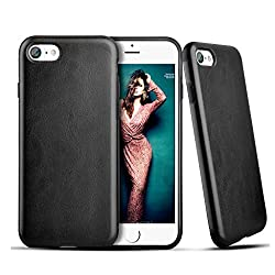 iPhone 7 Case Carbon Fiber,Roybens Hybrid Rubberized Ultra-Slim Anti-Slip Case TPU Leather Shockproof Cover for iPhone 7 (2016) - Black
