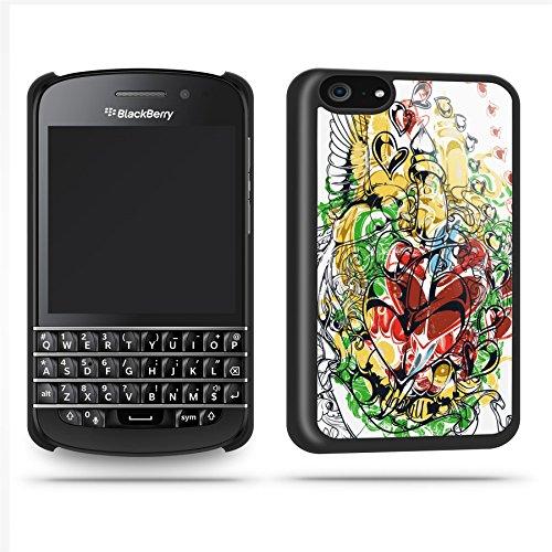 Tattoo Heart Black Case Shell Cover Phone Case Shell For Blackberry Q10 - Black
