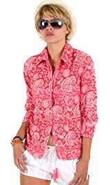 Coral paisley print burnout shirt
