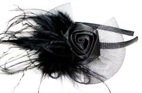 Womens Narrow Satin Alice band with Satin Rosebud and Net and Feather Detail in Black