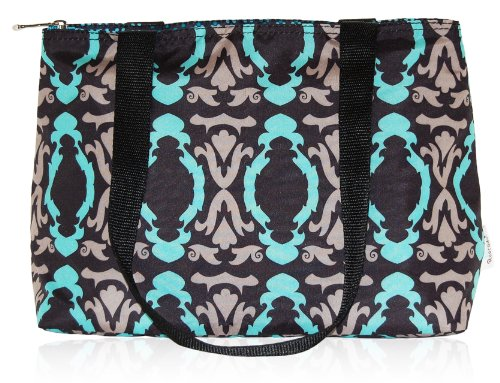 BlueAvocado Flip 'n Go Lunch Bag, Black Baroque/Black Dotted Chevron - 1