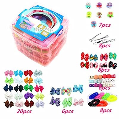 3 Layer Girls Hair Accessories Gift Box with Lot of Hair clips elastic hair tie candy clips Hair Bows alligator clips