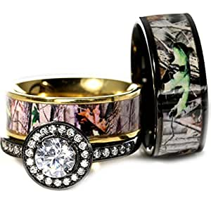 Amazon.com: 3pc Black and Gold His and Hers Camo Wedding ...