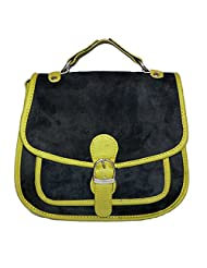 Adimani Ledar Black Genuine Leather Sling Bag For Women