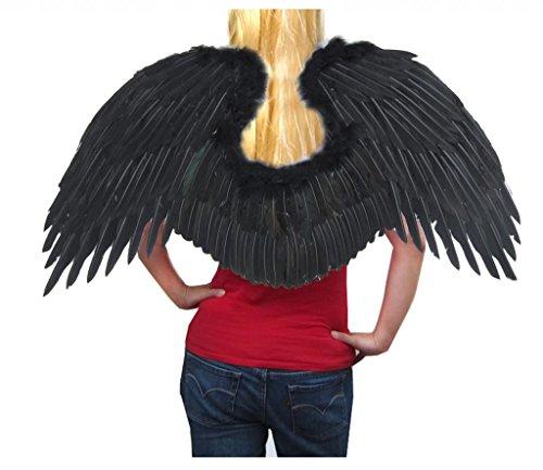 [SACASUSA (TM) Super Large Feather Fairy Angel Wings in Black] (Black Swan Costume Wings)