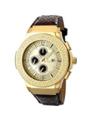 "JBW-Just Bling Men's JB-6101L-E ""Saxon Gold"" Braided Leather Diamond Watch"