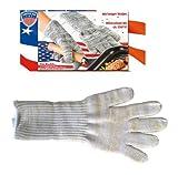 2 Stück Hitzeschutz-Handschuh, Handschuh, Hitzeschutz für Grill, Kamin, Ofen Backofen bis 250° Stulpe lang
