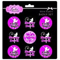Hen Party 9 Badge Set - Black & Pink - Bride to Be; Little Angel & Horny Devil