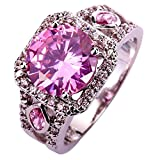 YAZILIND Women Hollow Silver Plated Pink Rhinestone Wedding Band Crystal Ring Size9