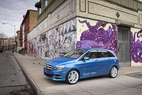 "Mercedes-Benz B-Class Electric Drive Car Art Poster Print On 10 Mil Archival Paper Blue Front Side Street View 20""X15"""