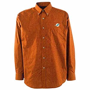 Miami Dolphins Esteem Button Down Dress Shirt (Team Color) by Antigua